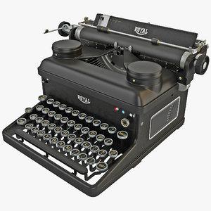 3d model typewriter royal