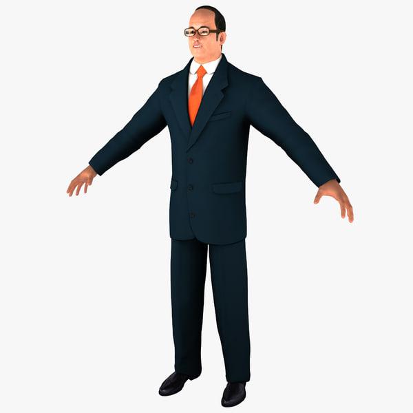 businessman 2 man 3d 3ds