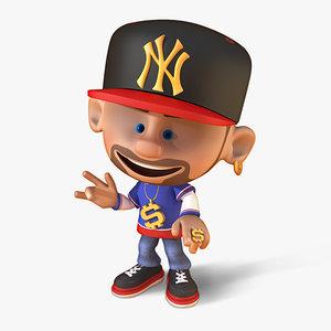 rapper cartoon rigged model