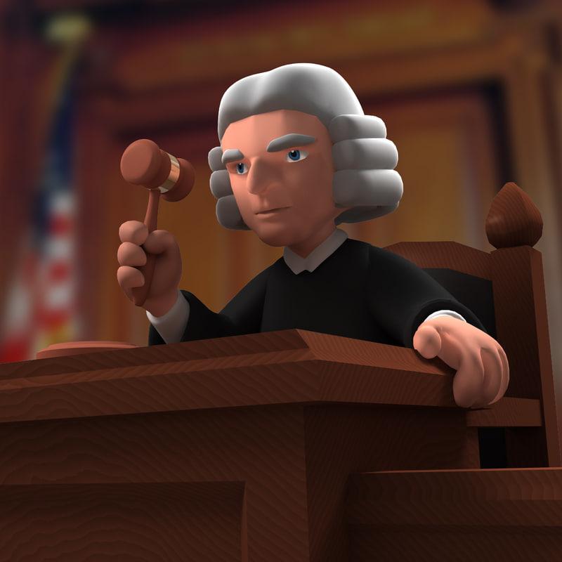 cartoon judge 3d model
