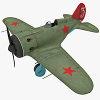 polikarpov i-16 2 rigged 3d model