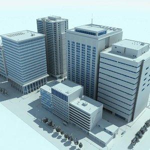 city cityscape 2 blocks 3d model
