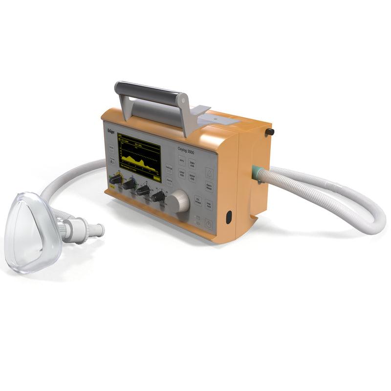 drager oxylog 3000 ventilator 3d ma