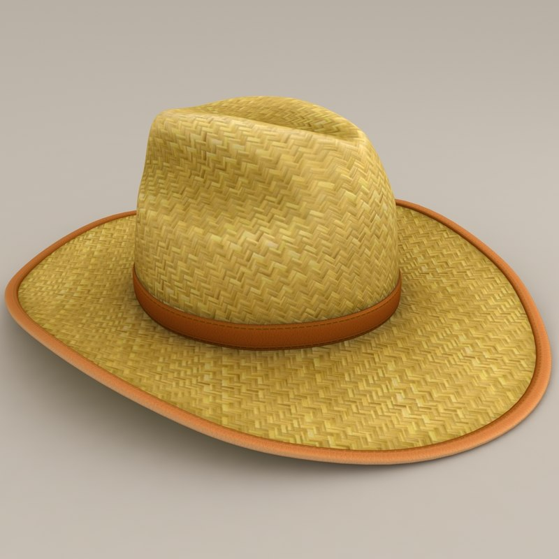 realistic straw hat 3d model