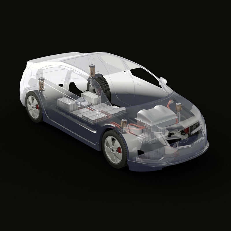 3d electric car x-ray