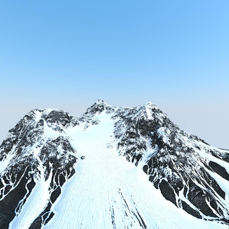 obj snow mountain landscape displacement