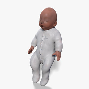 3d newborn baby girl rigged model