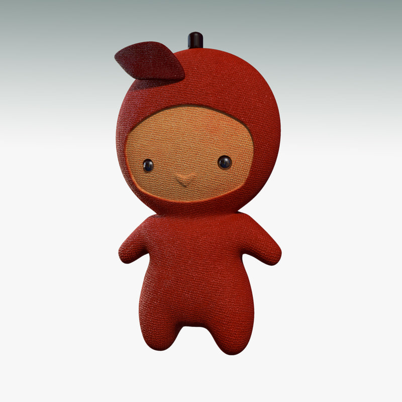 3d cartoon red apple character rigged