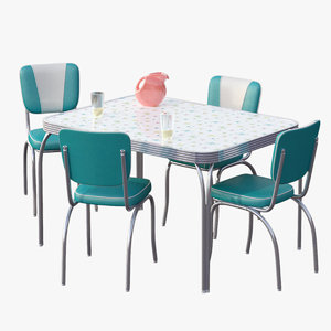3d chrome dinette set table model