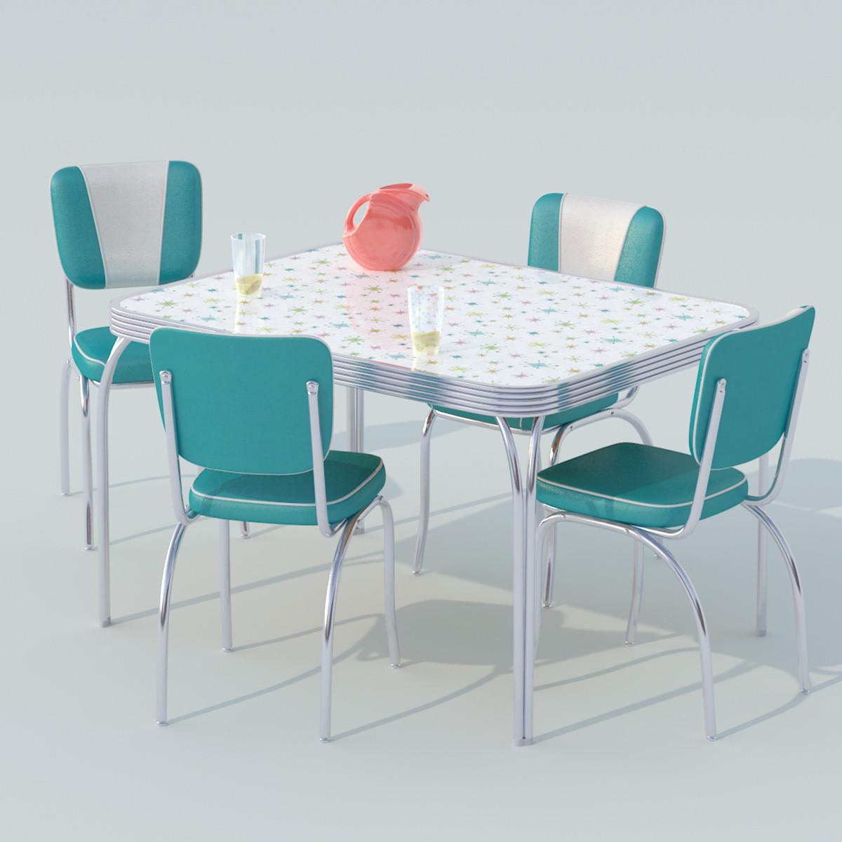 3d Chrome Dinette Set Table Model