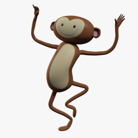 Monkey Cartoon Character Rigged