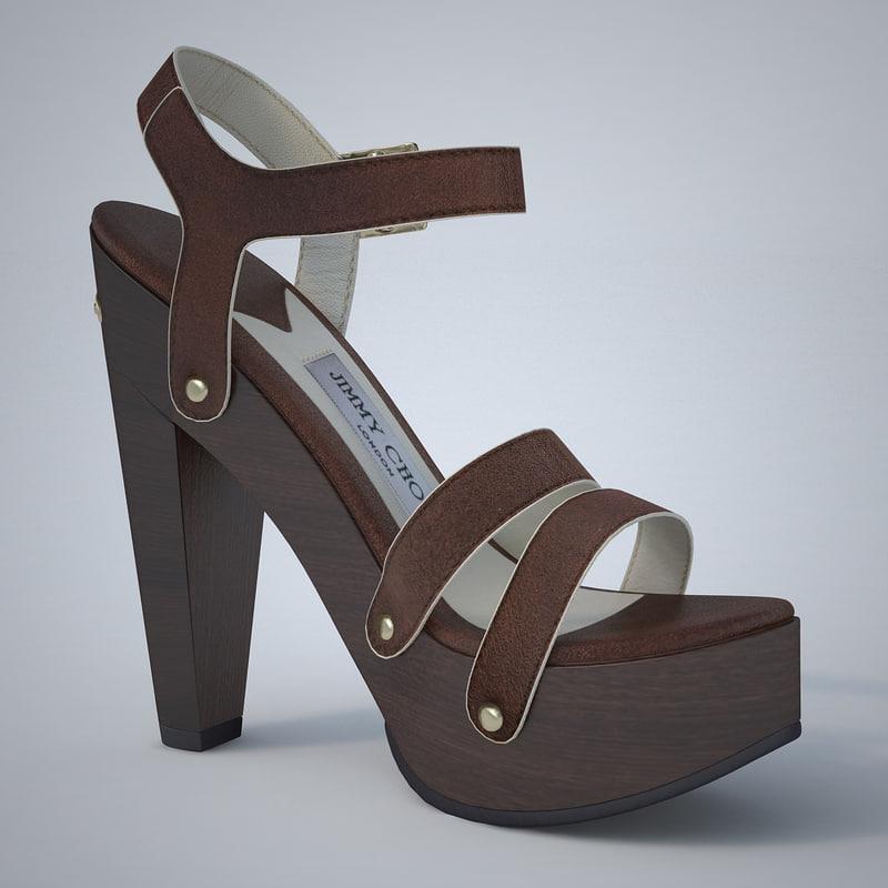3d model - plateau sandals jimmy