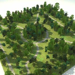3d model park scene block trees