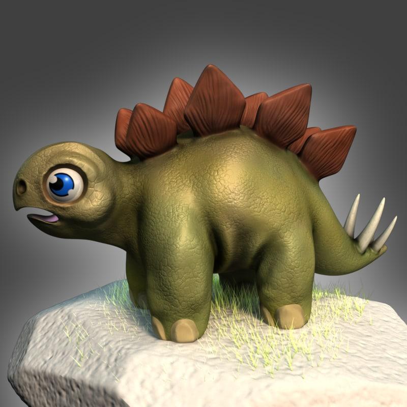 3ds max stegosaurus hatchling character