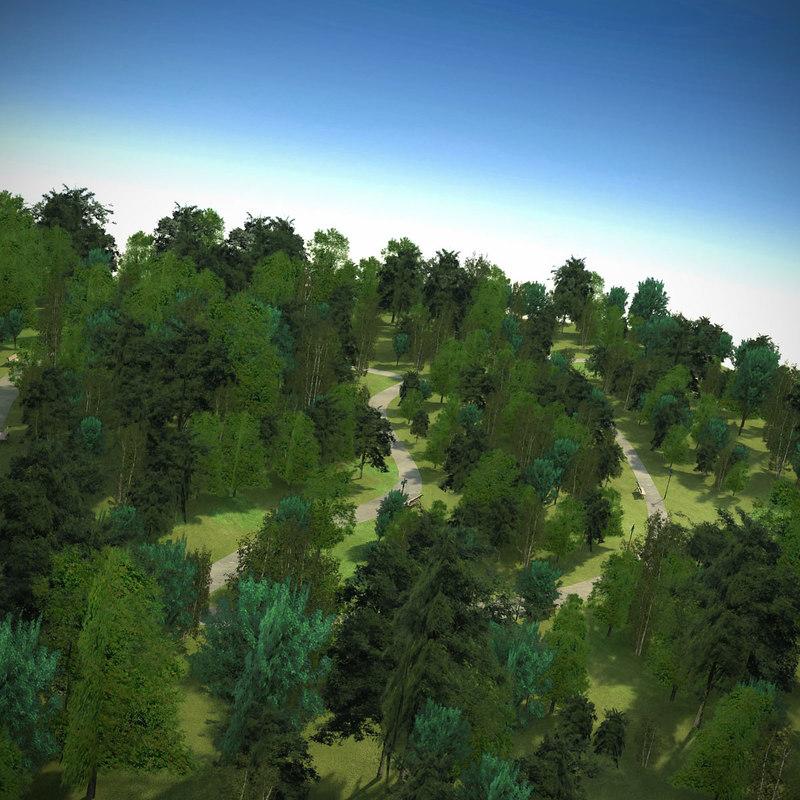 max park scene block trees