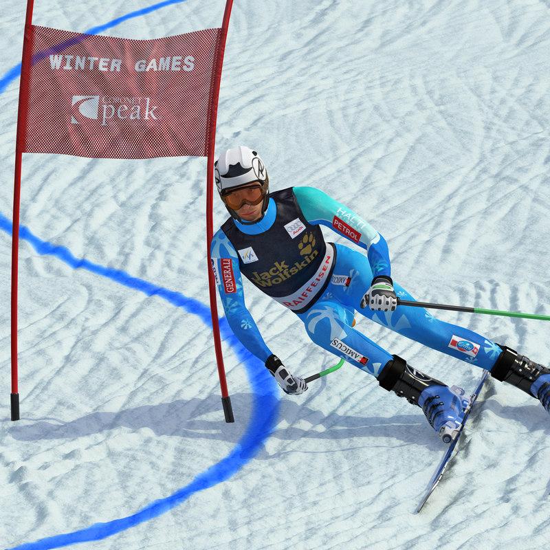 3d model alpine skiing player