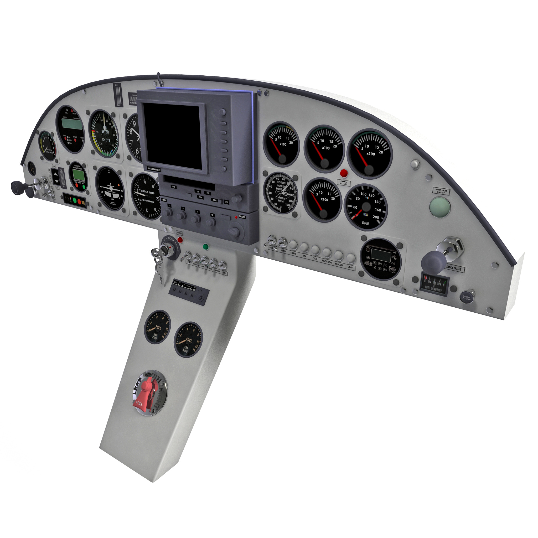 aircraft instrument panel 3d model