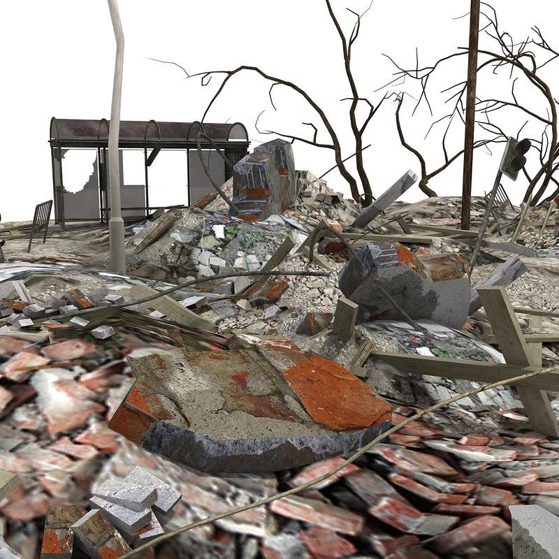 3d model heap debris rubble city scene