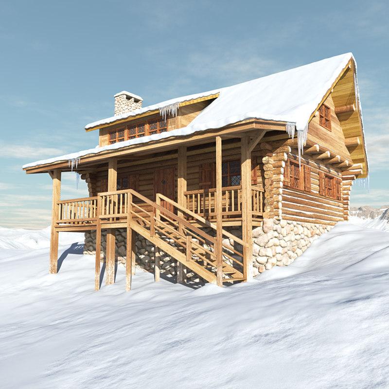 log house snow mountains
