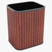 hardwood wastebasket c4d