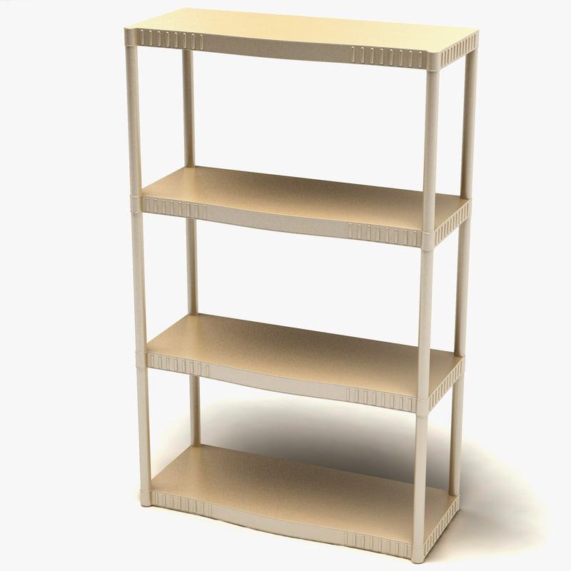 3d 4-tier heavy plastic shelves model