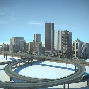 3d city cityscape highways