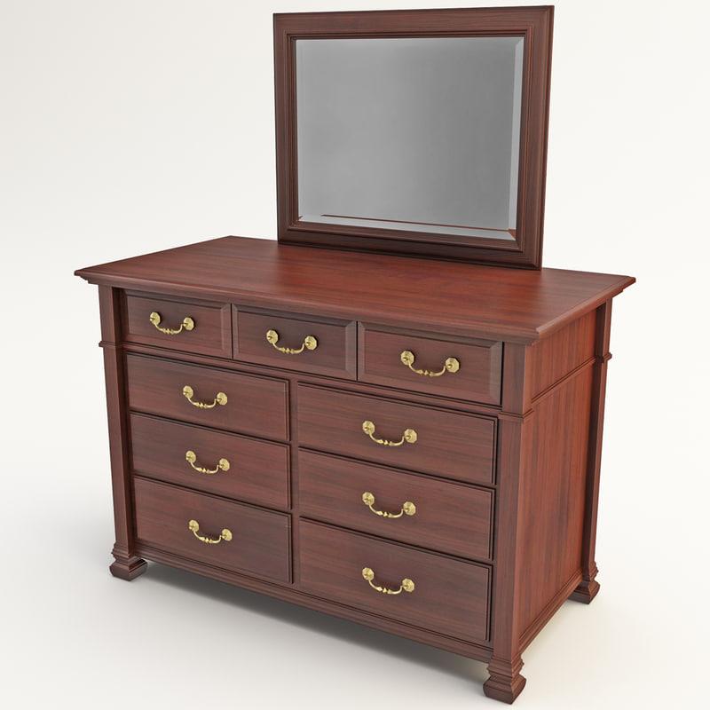 3d bureau dresser model. Black Bedroom Furniture Sets. Home Design Ideas