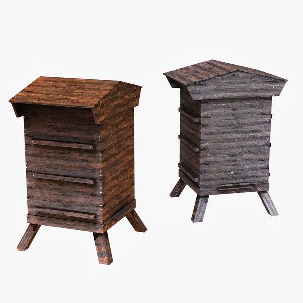 beehive hive bee 3d model