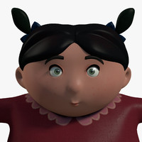 cute kid girl character 3d model