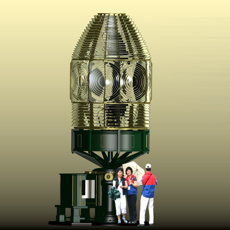 fresnel lens lighthouse light 3d ma