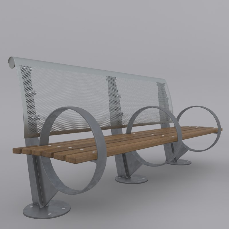 3d model new york park bench