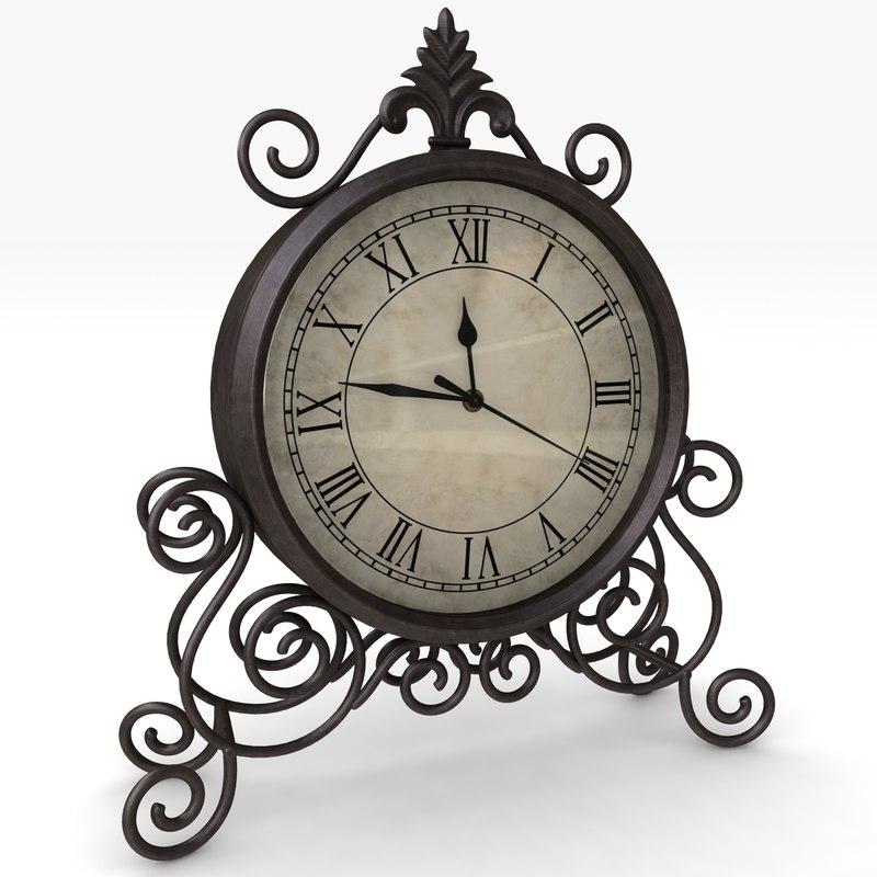 classic table clock 3d model