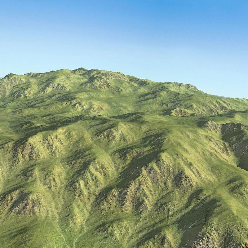 scottish hills landscape terrain model