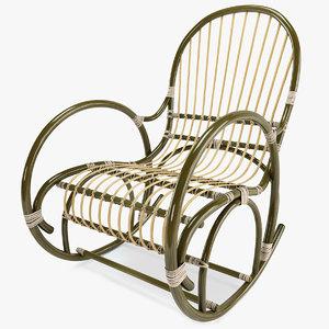 rattan rocking chair 3d model