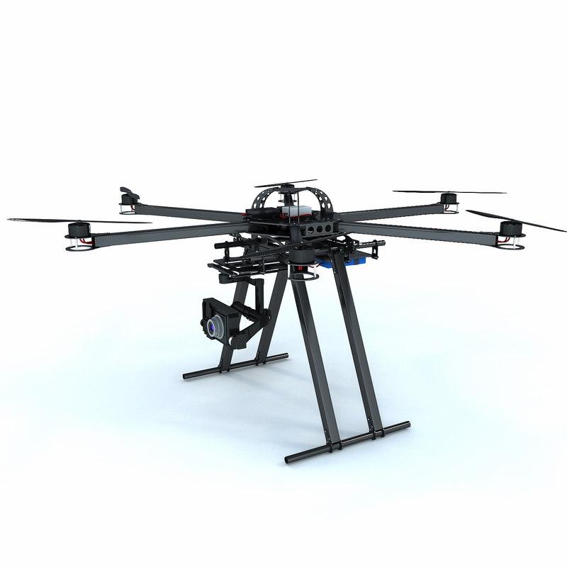 3d model hexacopter drone