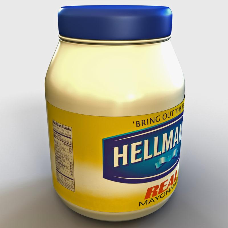3d mayonnaise bottle hellmans model