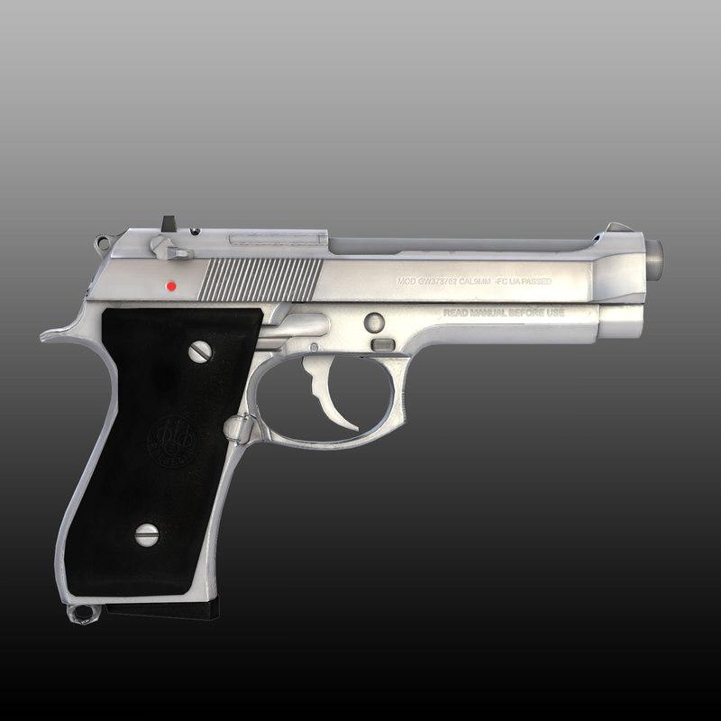 3d model beretta 92fs m9 pistol