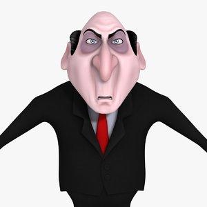 cartoon evil businessman 3d model