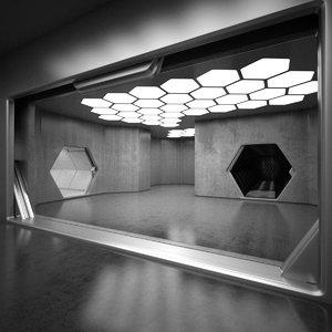 3d sci-fi interior model