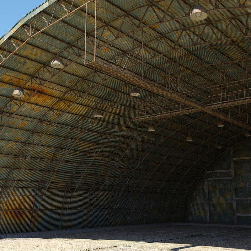 3d old military hangar model