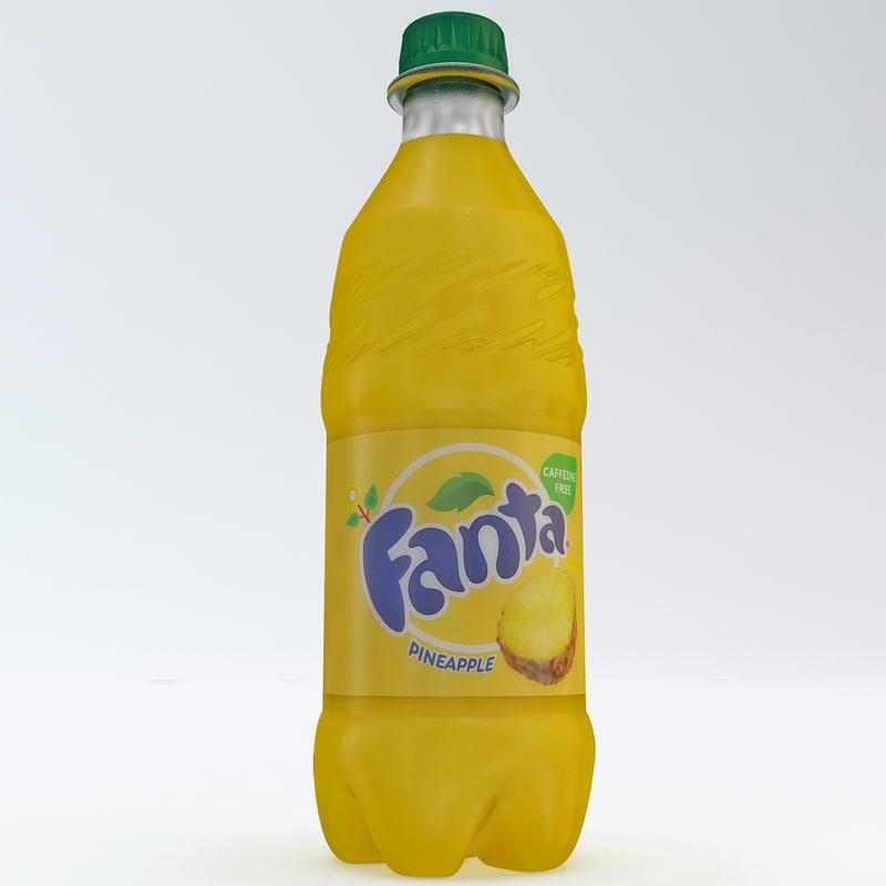 3d fanta pineapple bottle model