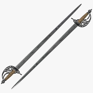 basket hilted sword weapon 3d 3ds