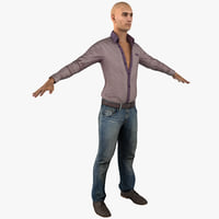 Young White Male Casual Clothes T-Pose