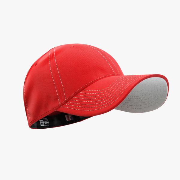 3d - cap red white model