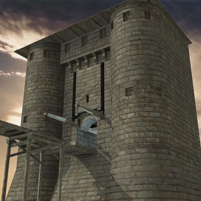 3d model medieval castle entrance
