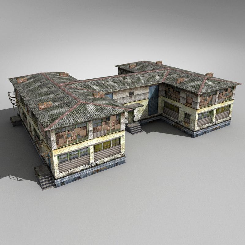 abandoned house 3d obj