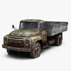 3d model damaged truck zil-130