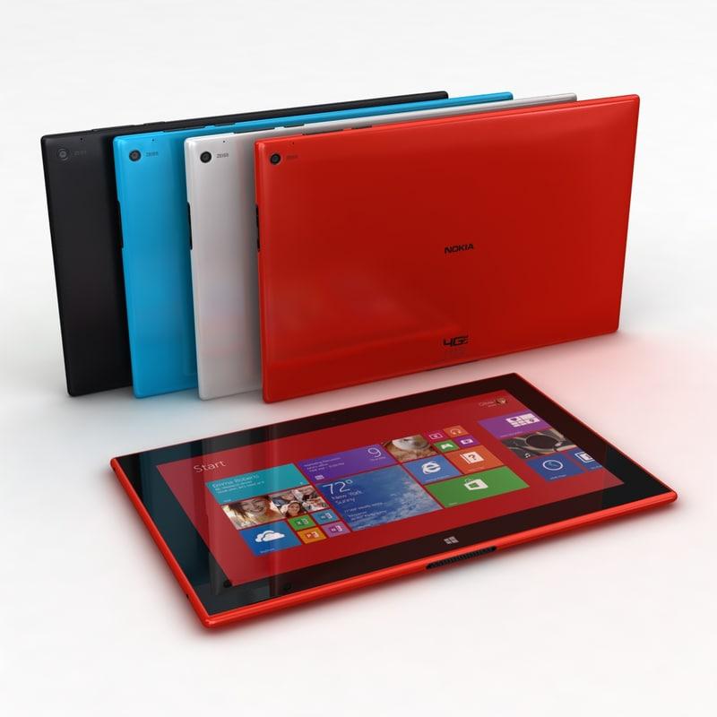 3d nokia lumia 2520 colors model