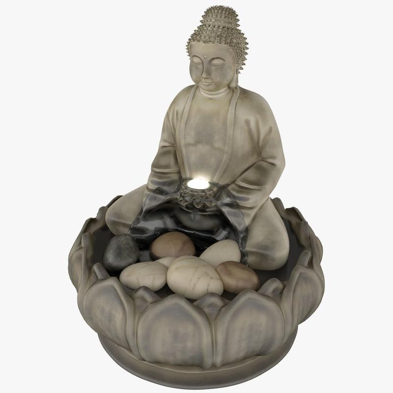 3d model buddha illuminated relaxation fountain