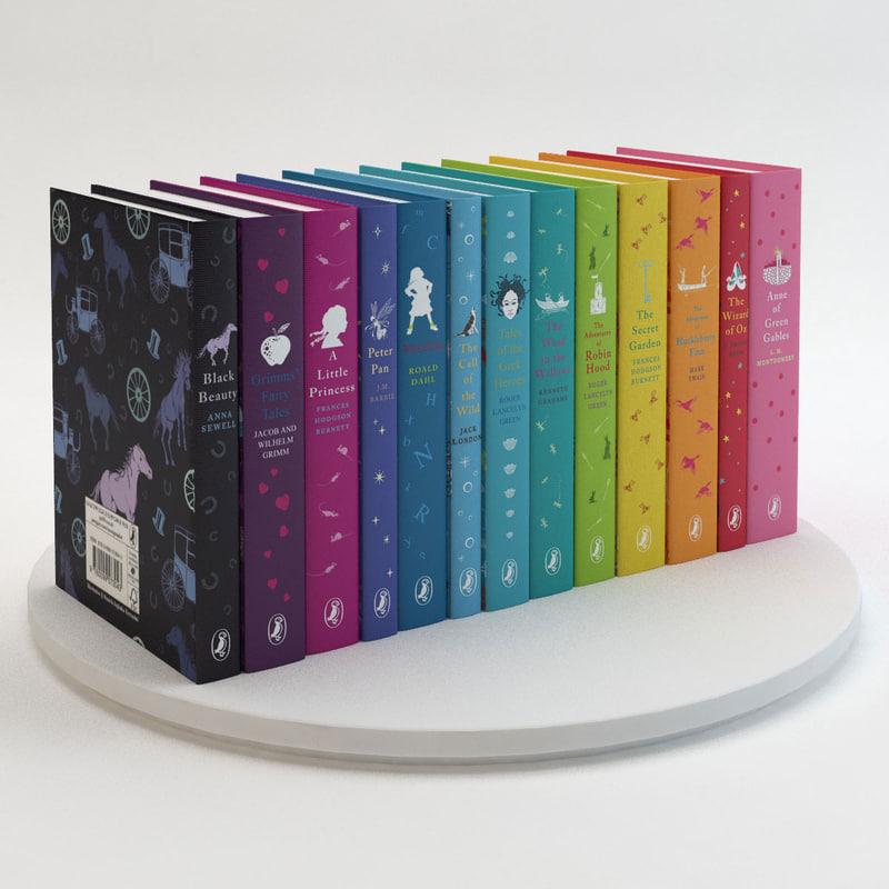 3d puffin classics books model